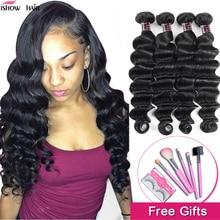 Ishow Hair suelta la onda profunda mechones brasileño extensiones de pelo ondulado mechones 100% extensiones de cabello humano 1/3/4 mechones pelo no Remy mechones