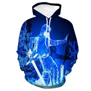 Unisex Christmas Snow Soldier 3D Digital Print Loose Hooded Sweater Pullover Women Men Xmas New Year Baseball Sweatshirt Hoodie