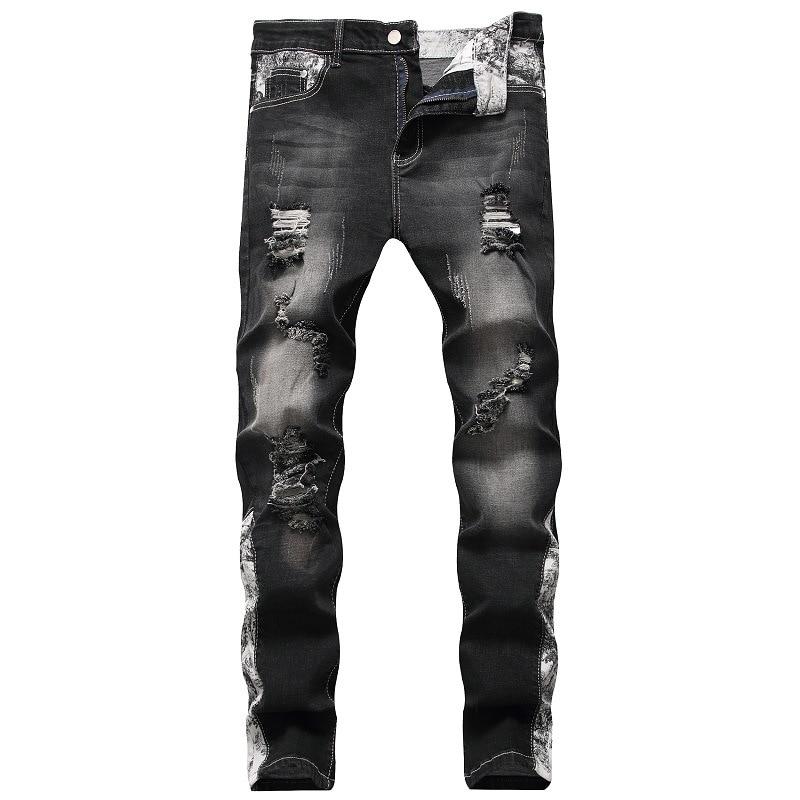Джинсы мужские рваные зауженные, модные брюки из эластичного материала, повседневные зауженные, с уличным принтом, дизайнерские штаны, черн...
