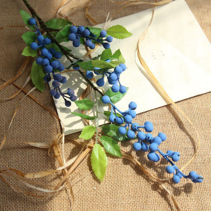 Flores artificiales para decoración de bayas rojas, tallo en aerosol de bayas falsas, decoración de Navidad/Flores sintéticas para boda