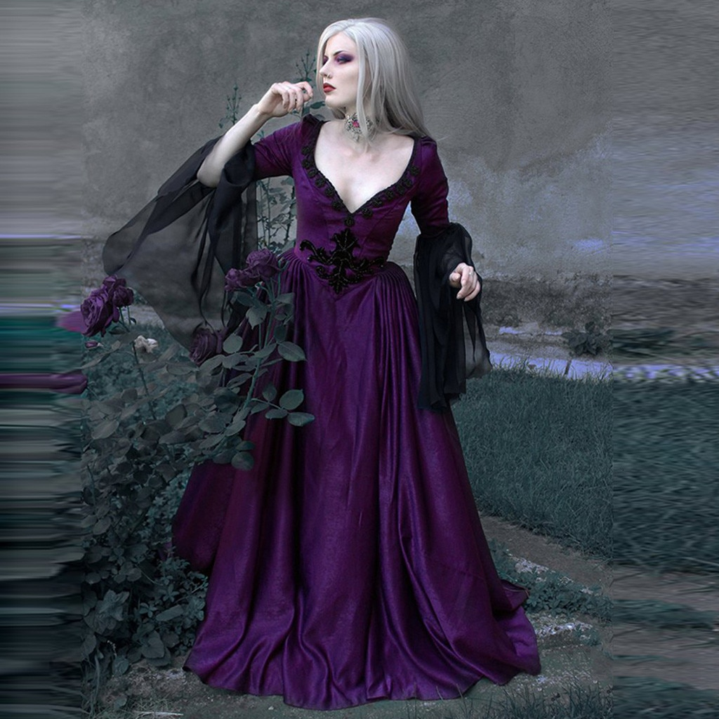 Middeleeuwse Vintage gótico Sexual v-hals patchwork Kant Lange jurk vrouwen modo feestjurk Vestidos talla grande Z0819