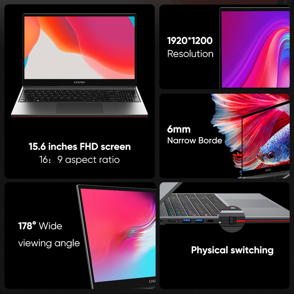 CHUWI CoreBook XPro 15.6inch Windows10 Laptop Intel Core i5-8259U Quad Core 8GB RAM 512GB SSD Backlit keyboard computer BT4.2