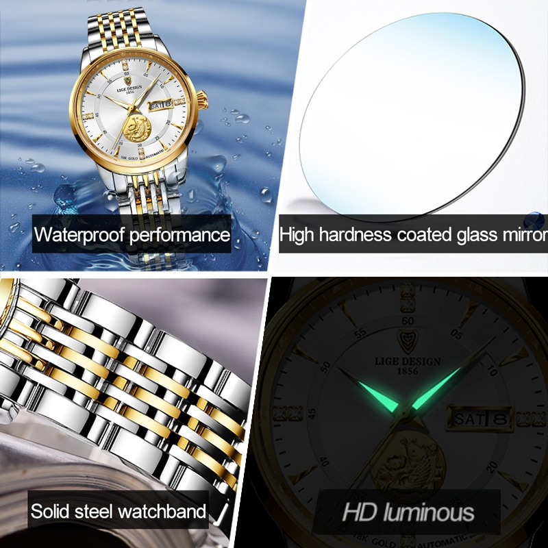 LIGE Women Watches Mechanical Watch Luxury Bracelet Wrist Wristwatch Elegant Ladies Automatic Clock Gifts Watch Relogio Feminino enlarge