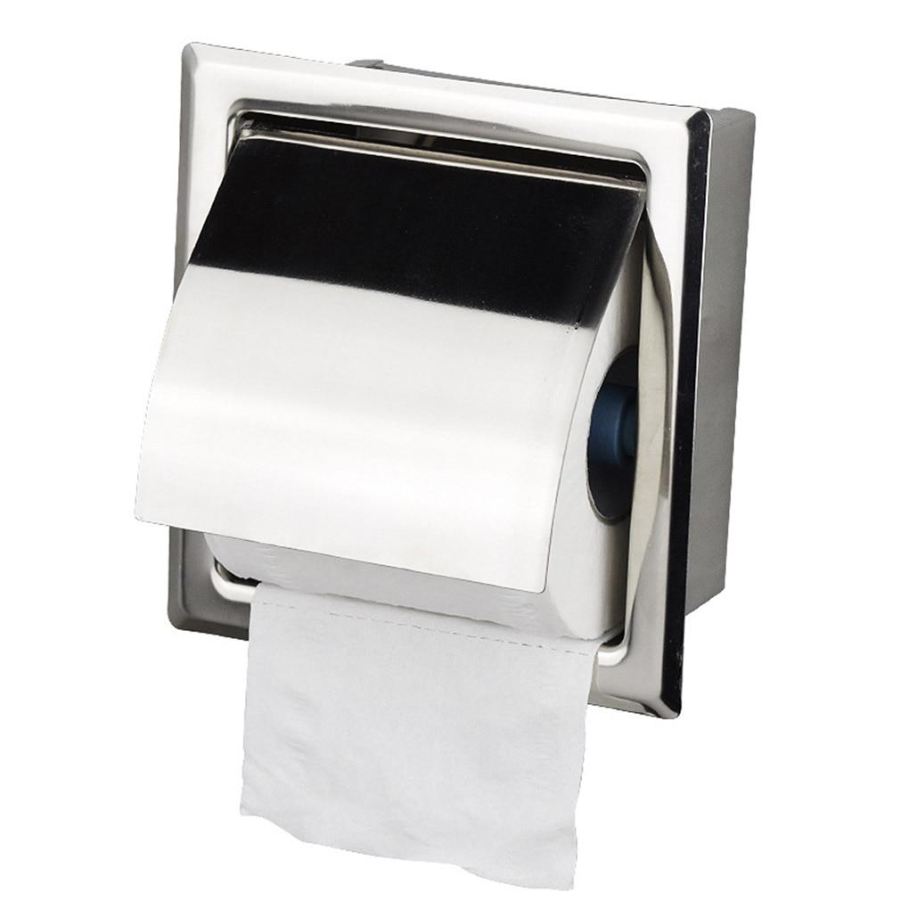 Soporte de papel higiénico, estante de papel de acero inoxidable montado en la pared para baño o cocina, rodillo de inserción