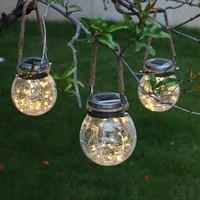2Pcs LED Solar Lamp Ball Crack Solar Powered Outdoor Waterproof Hang Lights Villa Garden Decoration Atmosphere Sunlight Light