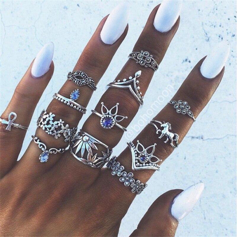 RAVIMOUR 7 Estilo Vintage anillos de nudillos para las mujeres geométrico bohemio anillo de cristal flor Set bohemio Midi dedo joyería Bague Femme