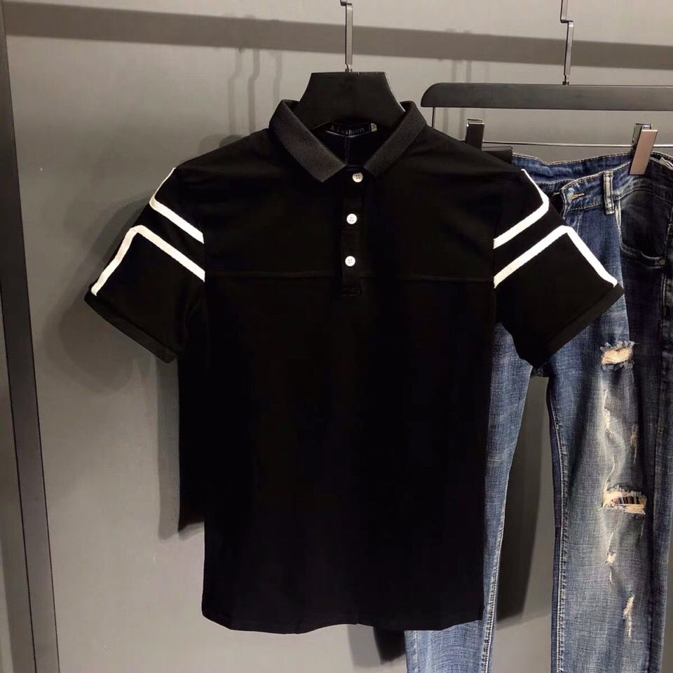 Men's Polo Shirt Contrast Embroidery Youth Slim Short Sleeve T-shirt Lapel Slim Half Sleeve Fashion Korean Fashion Handsome