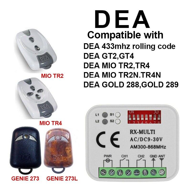 Контроллер ворот гаража DEA GT2 GT4, приемник дистанционного управления, замена пульта дистанционного управления DEA, код прокатки гаража 433,92 МГц