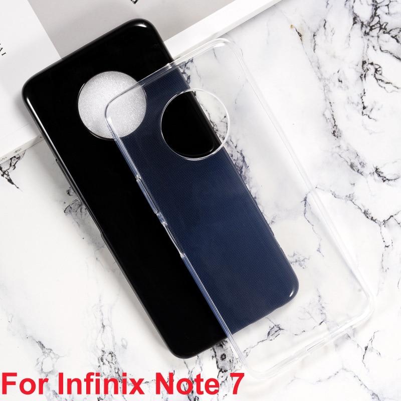 Para Infinix Note 7 Funda de silicona suave TPU Funda trasera de teléfono para Infinix Note7 note7 Funda de vidrio Capa cubierta protectora Coque