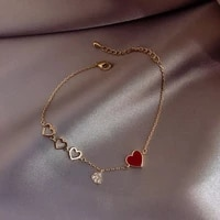 2021 korean new crystal pendant bracelet for woman fashion sweet red love gold cuff bracelet girl hand jewelry anniversary gifts