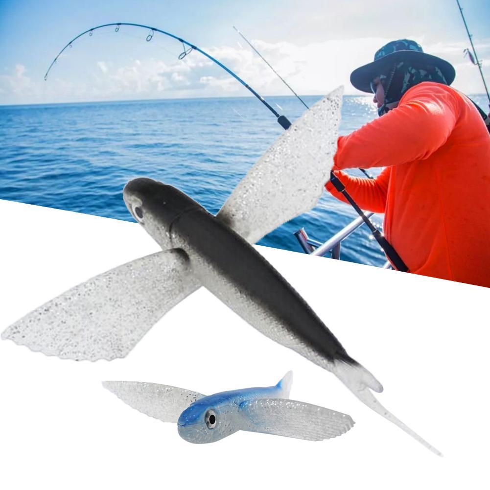 Cebo de pesca mar de simulación de peces voladores cebo suave cebo atún Marlin mar pesca cebo de pesca volando