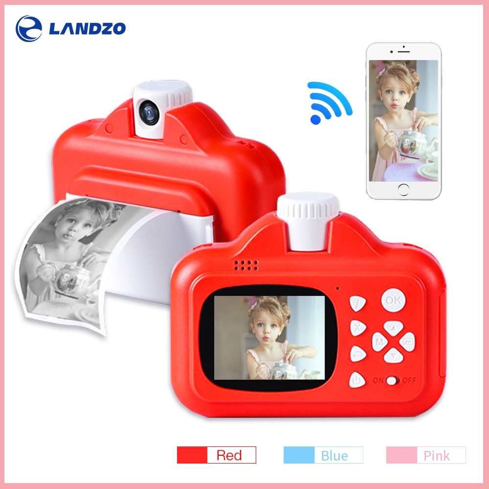 Kids Toys Instant Print Camera with Thermal Photo Paper 16GB TF Card and Paint Pen Set Thermal Camera Print Cameras