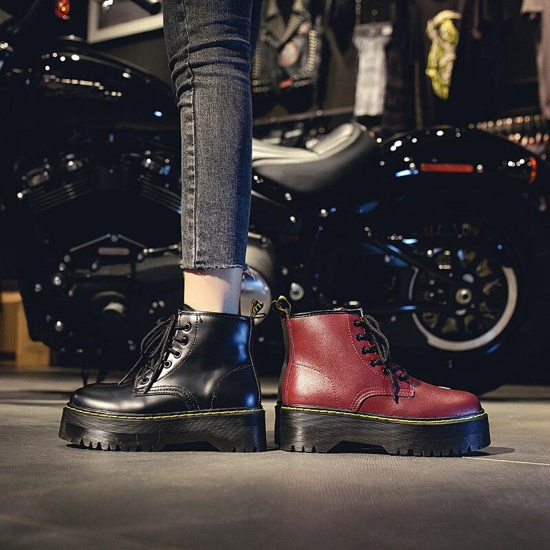 Botas de Invierno para Mujer con plataforma botas de tubo medio de moda Casual estilo callejero de invierno zapatos negros Zapatillas Mujer U11-85