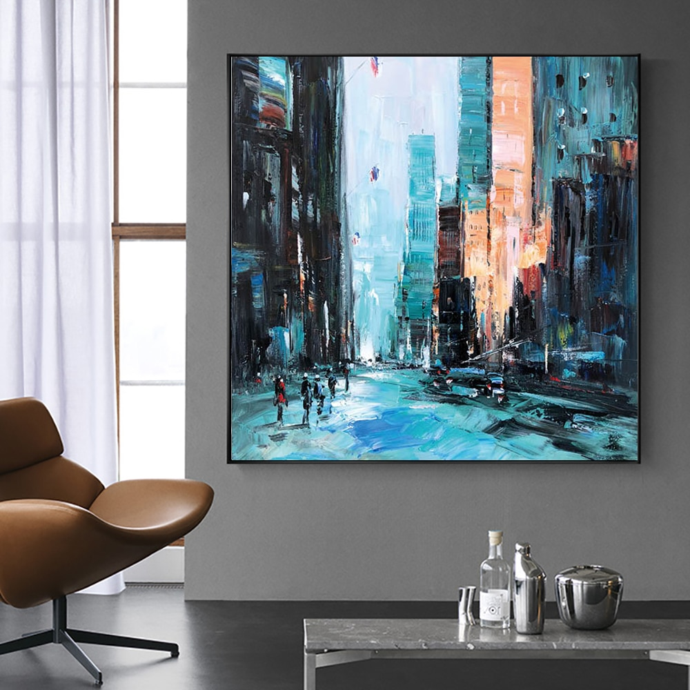 City Architecture Landscape Oil Painting On Canvas Handmade Abstract Wall Art Interior Home Decor Acrylic Wall Hangings Artwork