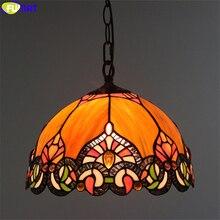 FUMAT Tiffany Style suspension vitrail Chili pierre précieuse lumière couleur Orange abat-jour alliage cadre Base artisanat maison Decro