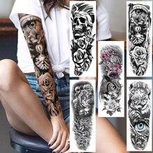 Plein bras mauvais oeil temporaire autocollant de tatouage pour hommes femmes réaliste crâne Rose fleur Tatoos Art corporel 3D imperméable faux tatouages
