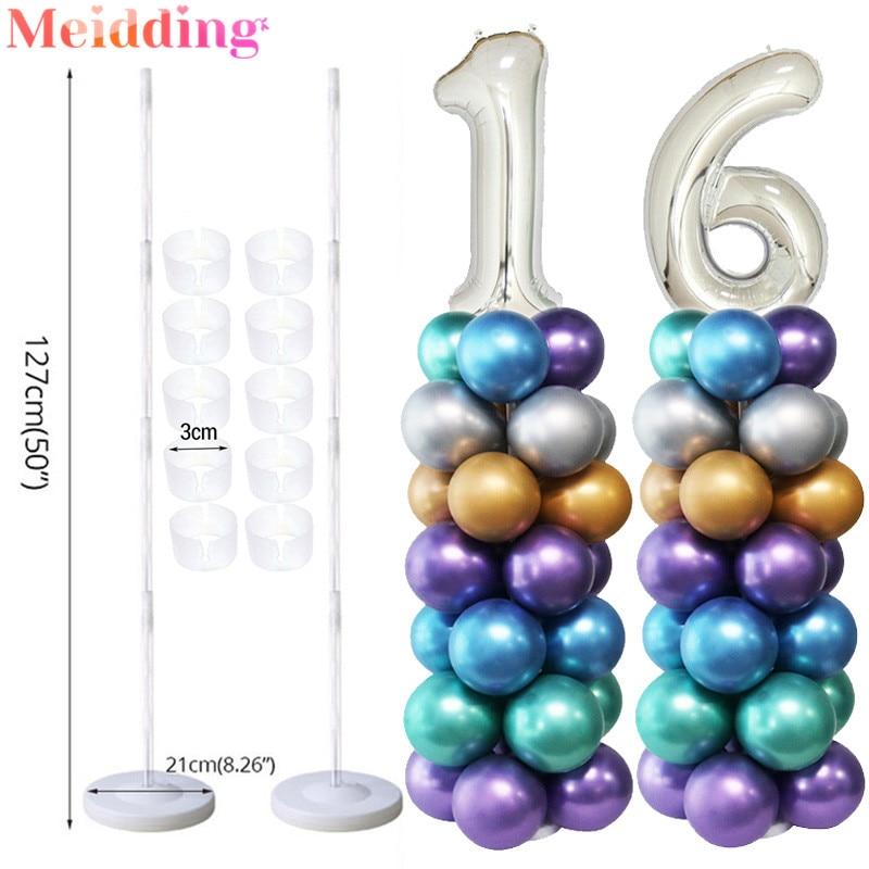 Adult Birthday Party Air Balls Balloon Stick Number Balloons Column Stand Wedding Table Ballon Decoration Ballon Accessories