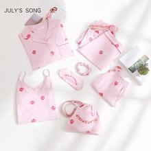 JULYS SONG-ensemble pyjama pour femme en coton rose 7 pièces, vêtement de maison pour femme, printemps été/automne ensembles de vêtements de nuit