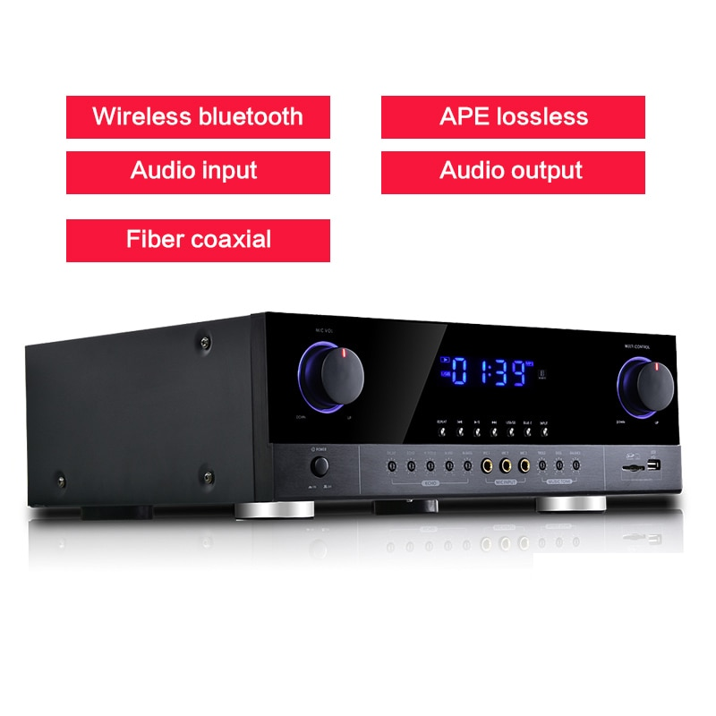 AMPLIFICADOR DE 800W y 220V con Bluetooth de alta potencia, amplificador de audio HiFi 2,0 AK-390 PARA karaoke con fiebre en el hogar, subwoofer para audio APE sin pérdidas