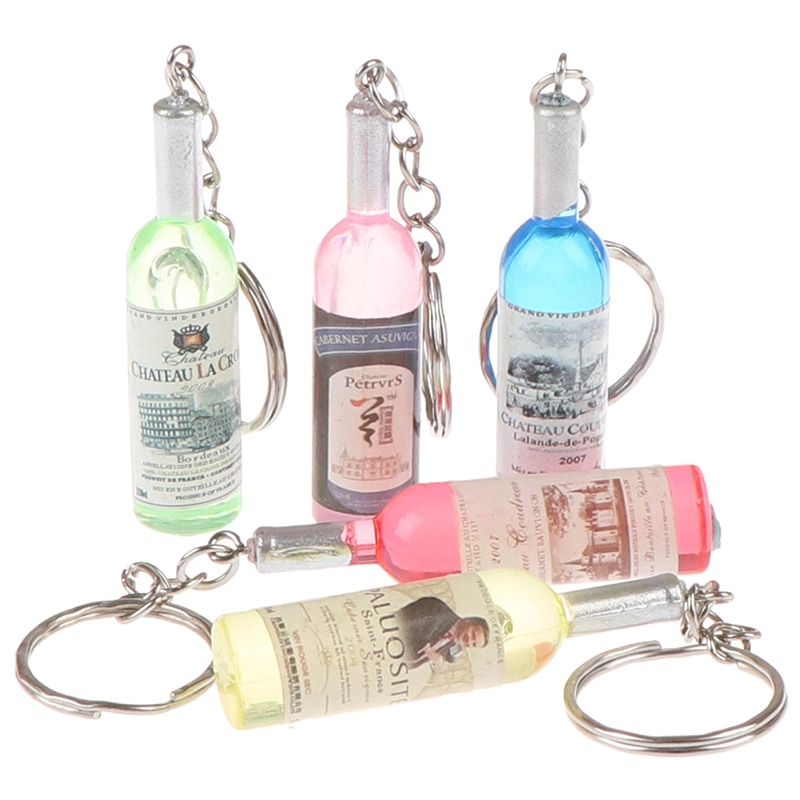 Moda artesanal resina garrafa de vinho chaveiros charme chaveiros liga encantos presentes