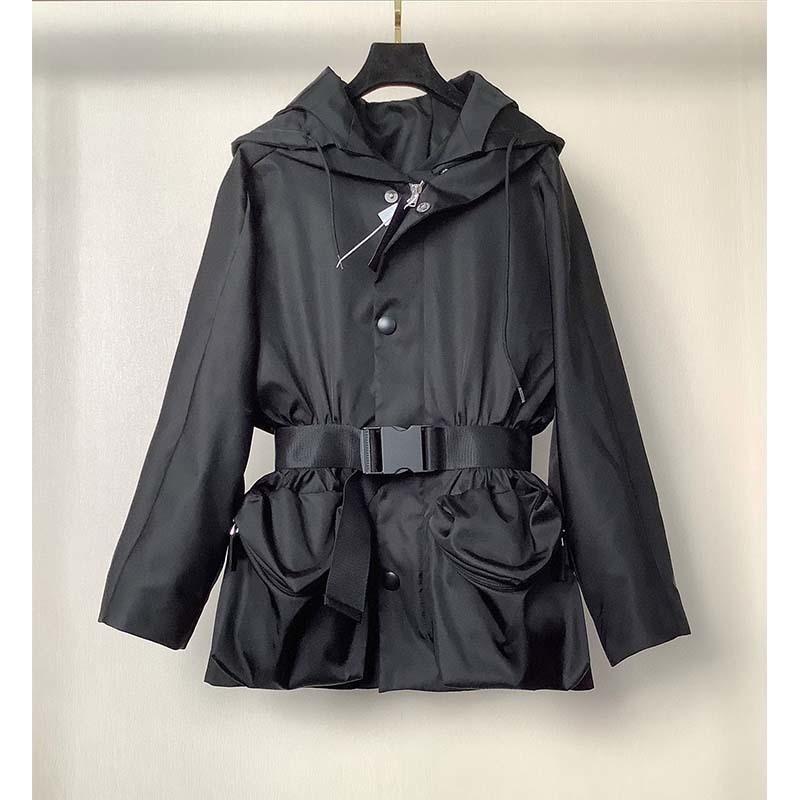 Trench 2021 Short Coat For Women Hooded Big Pockets Leisure Waterproof Coat Trendy Vintage Windbreak