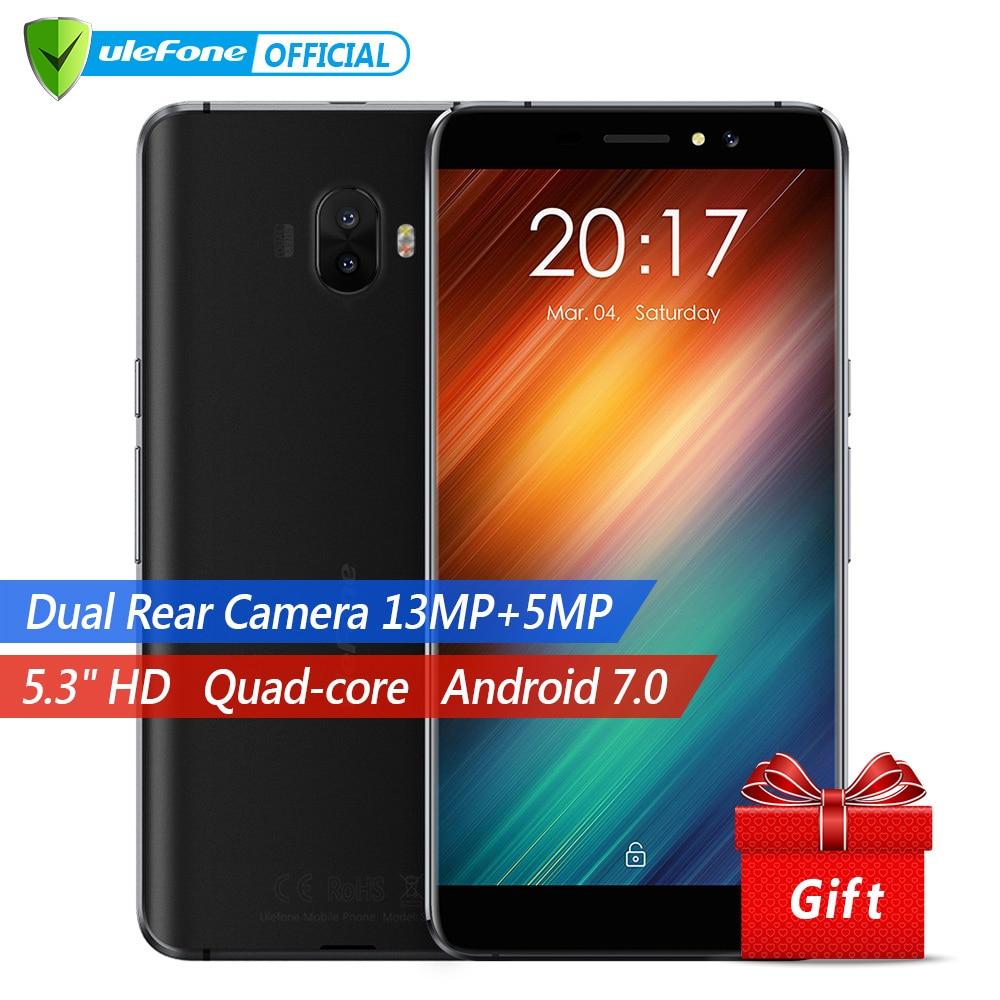 Ulefone S8 Pro Двойная камера мобильный телефон  5.3 дюймов HD MTK6737 4 ядра android 7.0 2 ГБ + 16 ГБ 13MP Сканер отпечатков пальцев  4G телефон