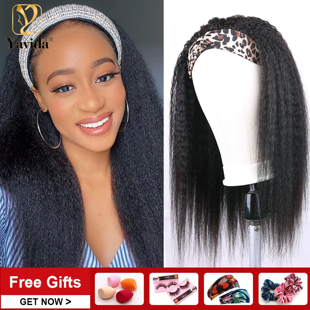 Peruvian Kinky Straight Headband Wigs For Women Blends Perfect Own Hairline Human Hair Remy Human Hair Half Wigs With Free Gifts
