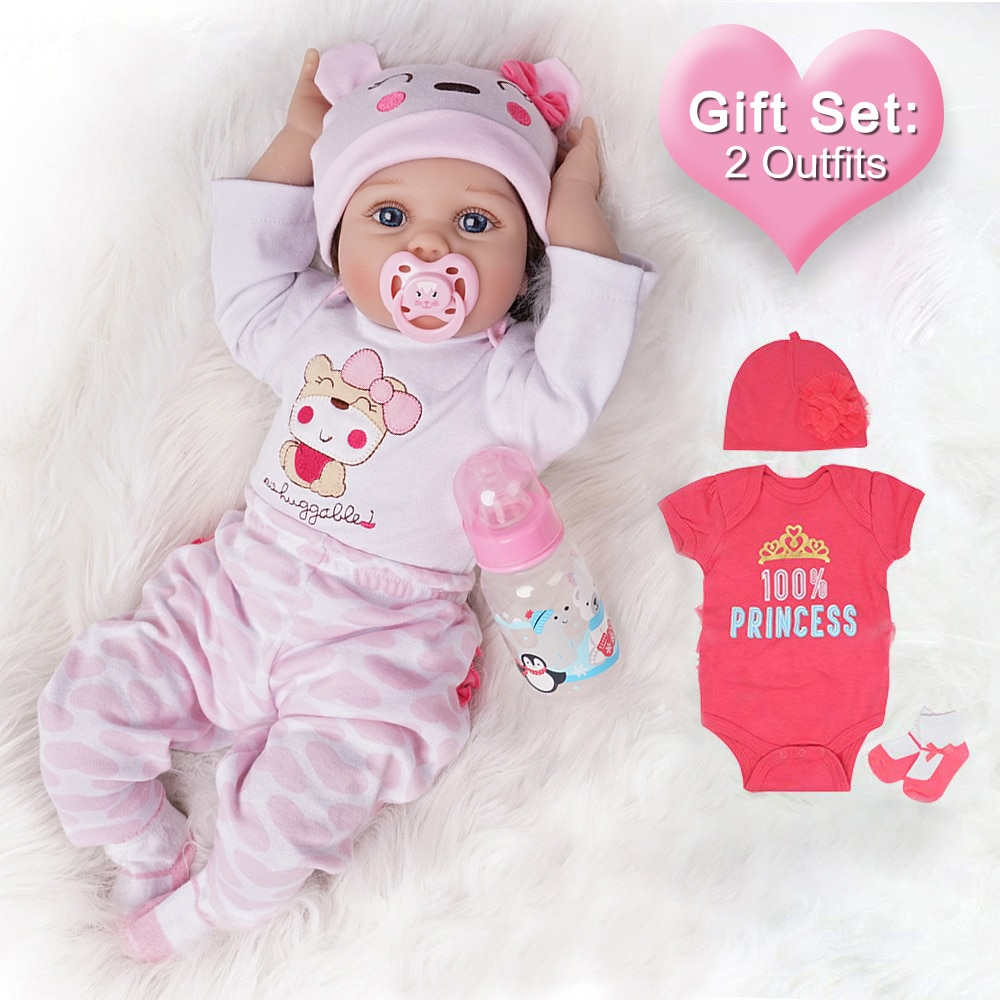 Cute Lovely Reborn Baby Doll with Clothes Set Short Hair Cartoon Bebe Dolls for Girls Boys Toys Kids