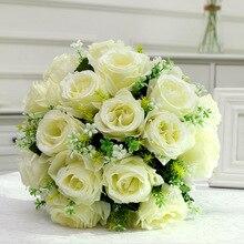 1pc casamento bouquet de noiva artificial 18 cabeças rosa flor branco damas de honra titular bouquet de casamento diy casa decoração da loja