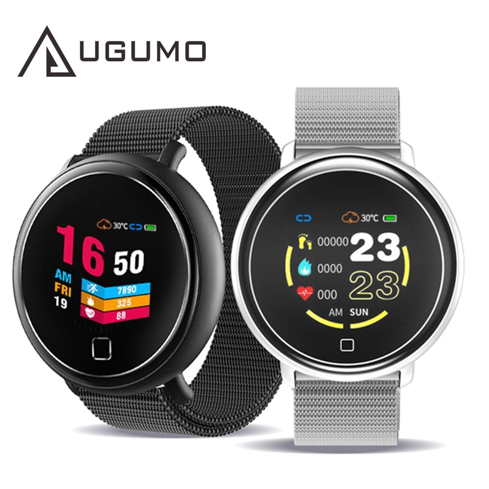 Pulsera inteligente UGUMO, rastreador deportivo de actividad física, Monitor de ritmo cardíaco y presión arterial, reloj inteligente impermeable para hombres y mujeres para IOS y Android