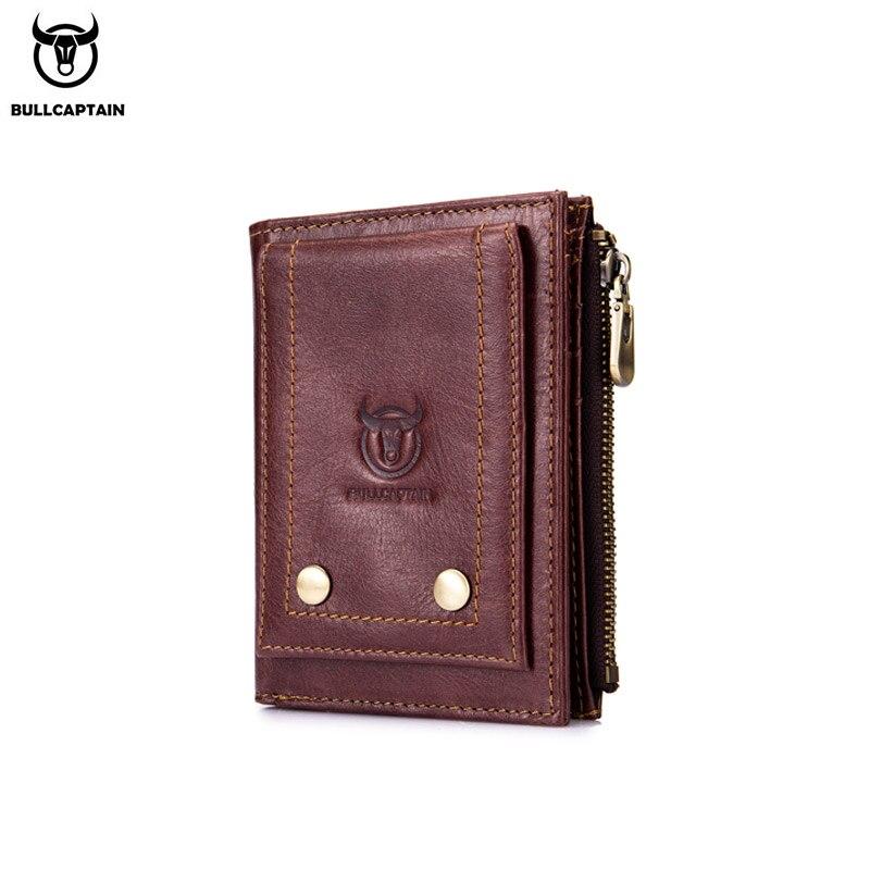 Cartera de cuero BULLCAPTAIN RFID para hombre, cartera para hombre, billetera corta con 3 pliegues, tarjetero, cartera de negocios hecha a mano para hombre