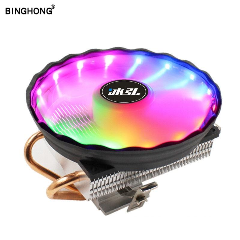 BINGHONG Intel Amd CPU Cooling 120mm RGB Cpu Cooler Fan 2 heatpipe For Lga 775 1150 1151 1366 Am4 Am3+ Fm2