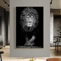 black and white lion animal canvas painting posters and prints wall art wild animals pictures for living room bedroom decor