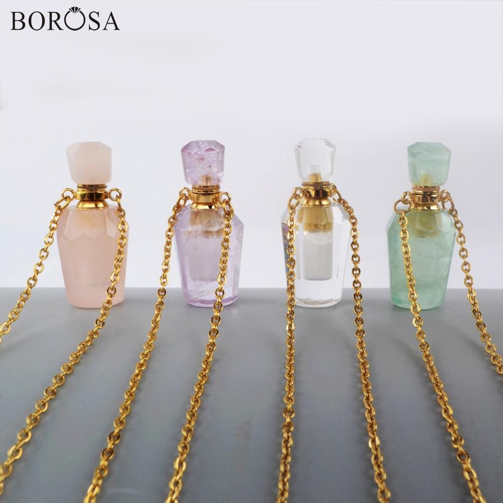 BOROSA botella de Perfume collar de cadena 26 pulgadas collar de acero inoxidable Multi-Kind Stone aceite esencial difusor de Perfume G1941-N