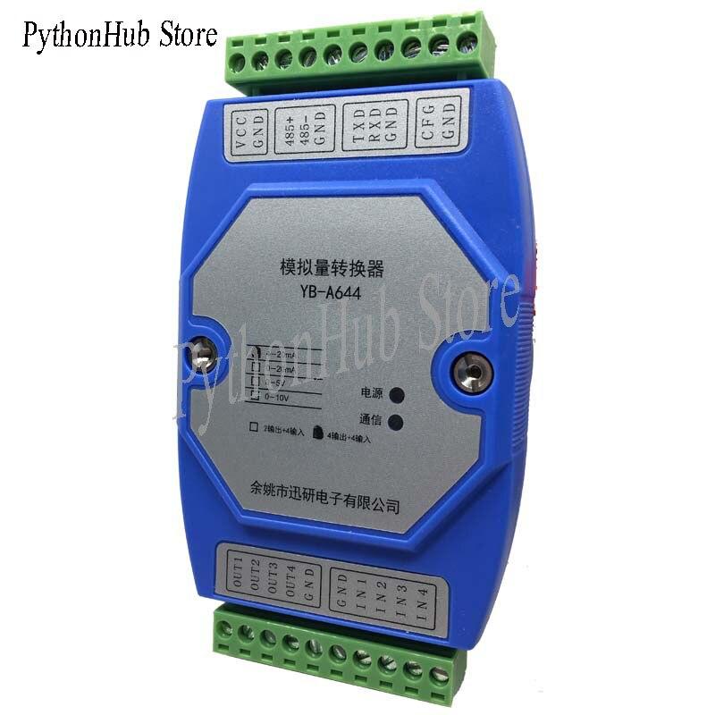 منفذ تسلسلي RS232/RS485 إلى 4 مدخلات إخراج وتيار تناظري 4-20MA خرج 0-10 فولت
