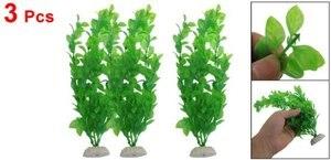 """SODIAL(R) 3 Pcs 10.6"""" Height Green Plastic Artificial Plants For Aquarium Fish Tank"""