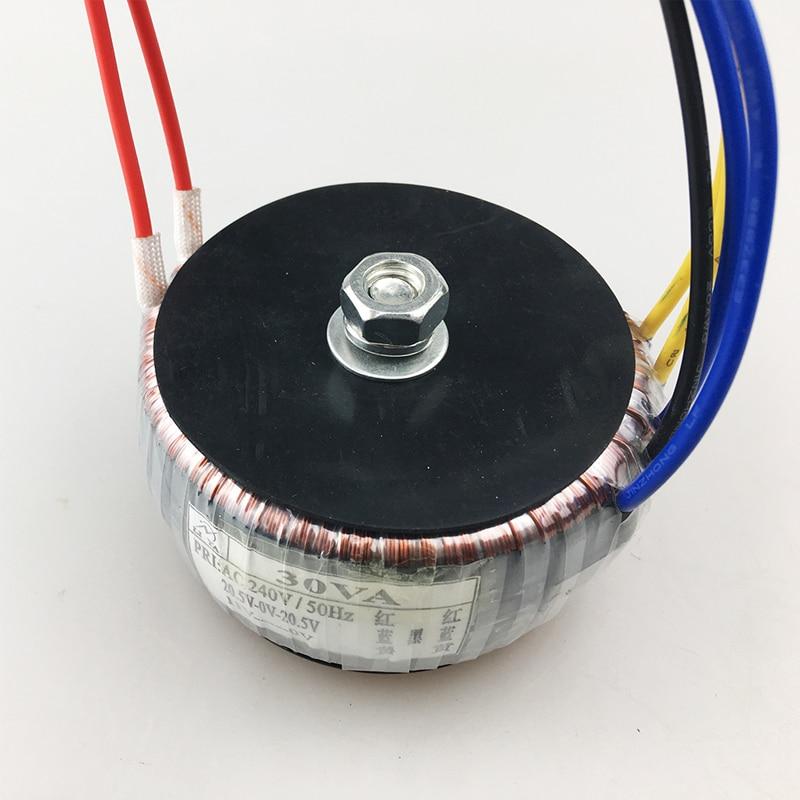 KYYSLB 30 Вт тороидальный трансформатор 240 В в двойной 20 в одиночный 11 в усилитель мощности аудио кольцо напряжение может быть настроен трансфор...