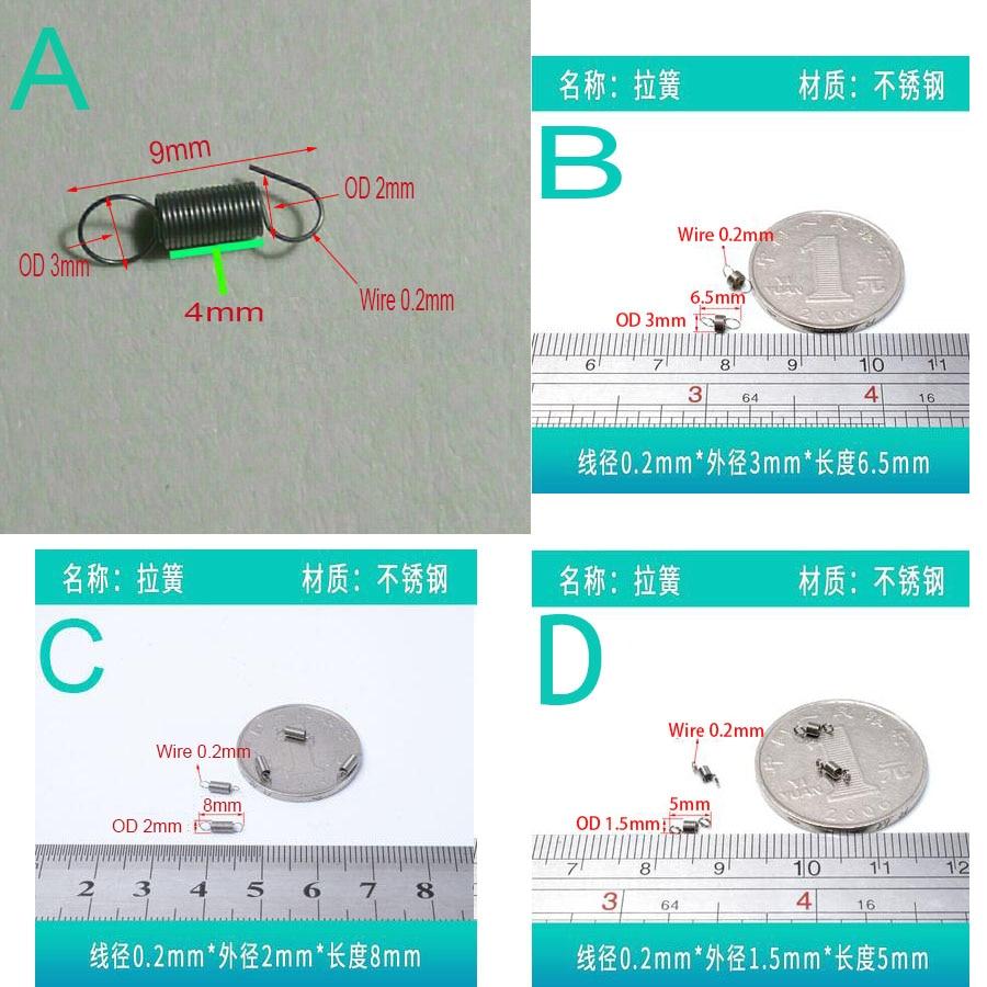 Micro resortes de extensión de resorte de tensión pequeños de alambre de 0,2mm