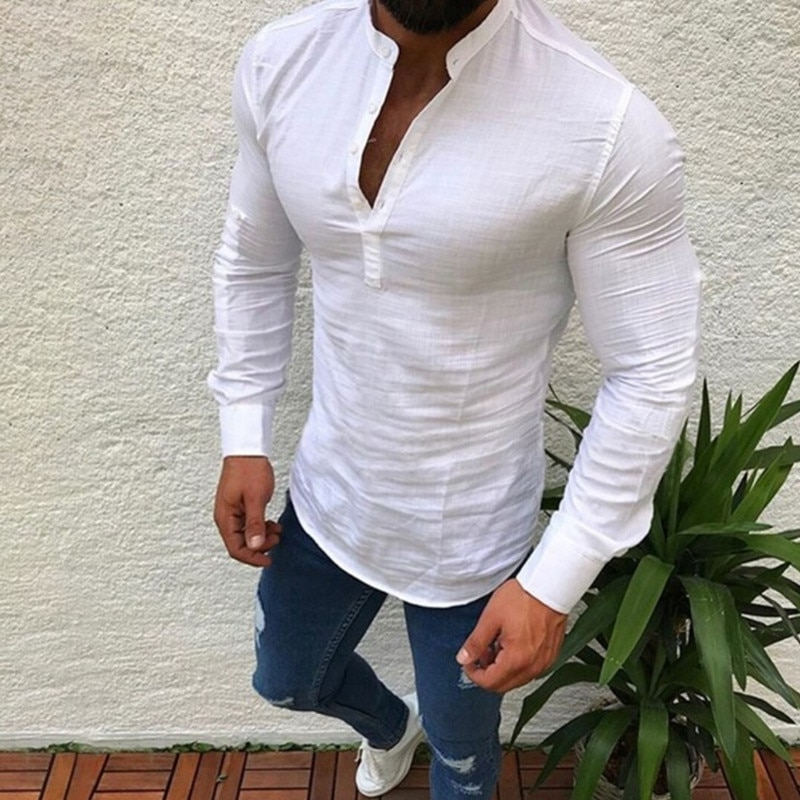 Novedad 2020 Sexy Blusa de manga larga para hombre de ropa fresca...