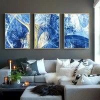 Toile de peinture bleue abstraite  ligne geometrique  affiche dart mural  peinture dimages murales pour la maison  salon  decor nordique