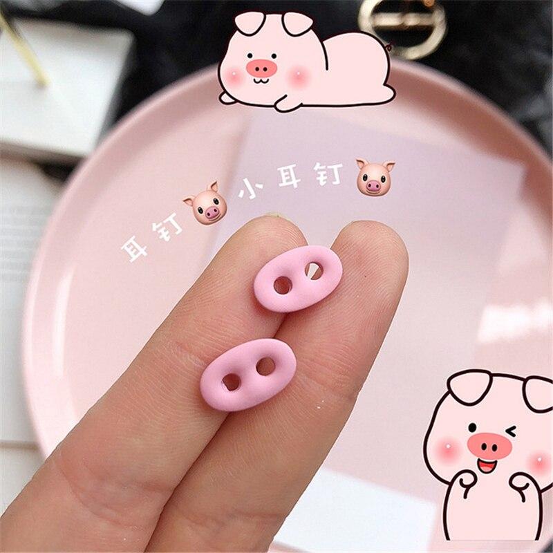 Pendientes coreanos bonitos de punta de cerdo y nariz, pendientes pequeños de aleación con personalidad rosa, pendientes femeninos con pintura en aerosol