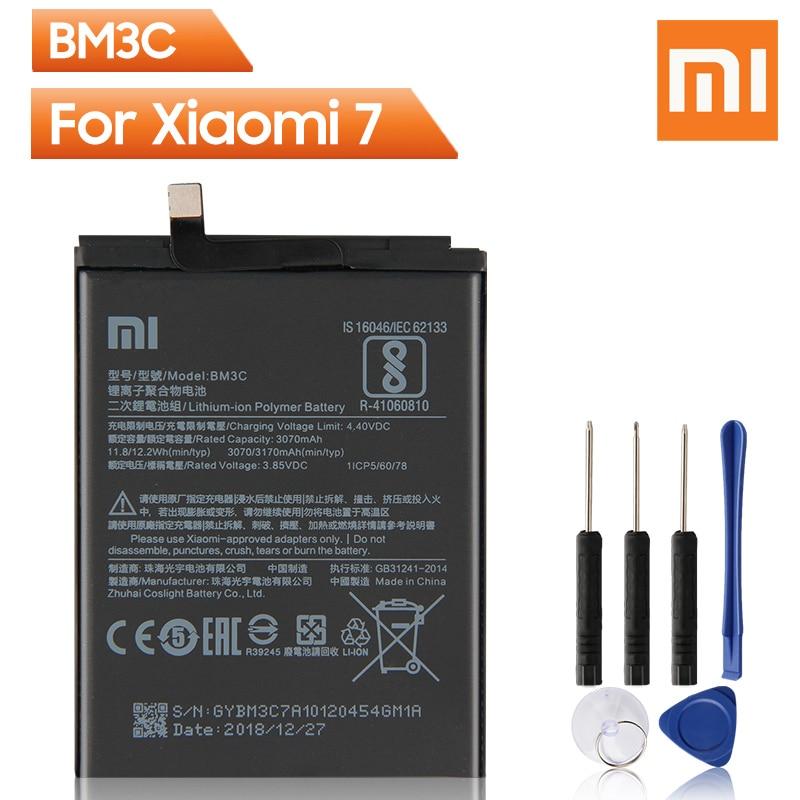 Batería Original de repuesto para teléfono Xiao Mi BM3C para Xiaomi 7 MI7 BM3C auténtica batería recargable 3170mAh