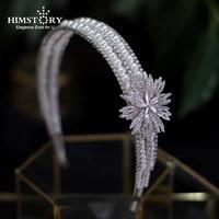 himstory new rhinestones pearl hairband headdress flower tiaras crowns bride party headband headpiece wedding hair accessories