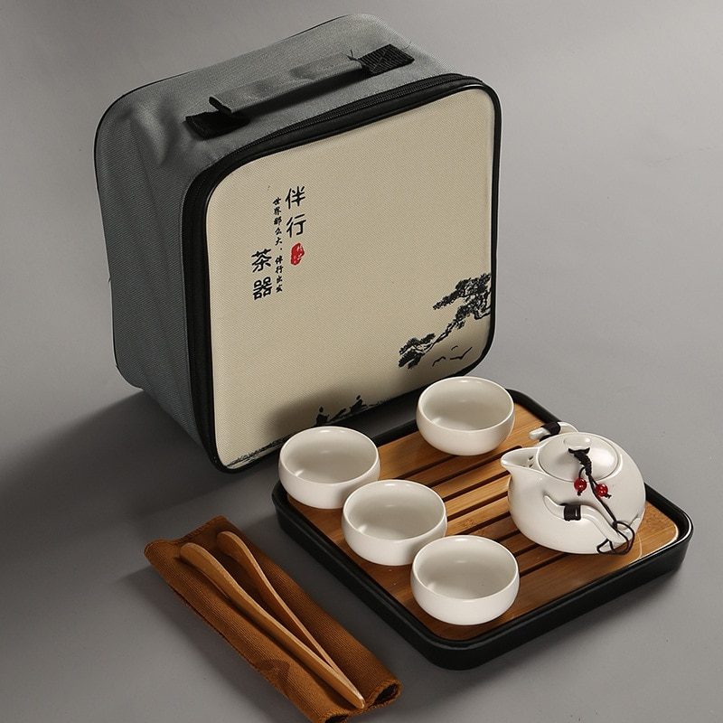 Novo Presente Chinês Do Chá Viagem Jogo de Chá Kung Fu Jogo de Chá Bule Portátil Teaset Porcelana Gaiwan Chá Xícaras de Chá cerimônia do Chá Chá Ferramenta