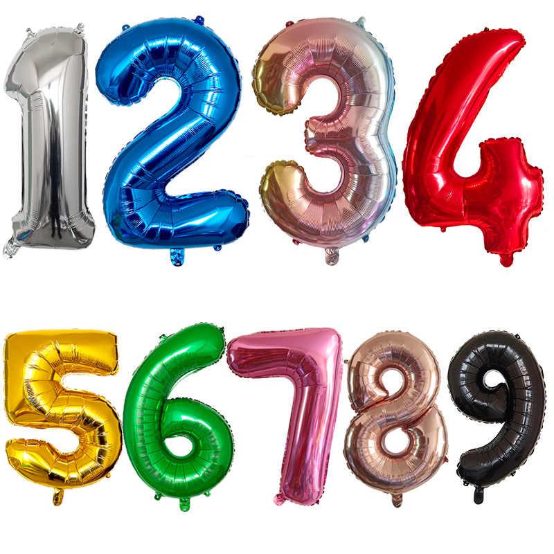 32 Pulgadas 1 Uds De Globo Número 0 1 2 3 4 5 6 7 8 9 Niños Fiesta De Cumpleaños De Las Niñas Rosa Azul Globos De Partido Globos Y Accesorios Aliexpress