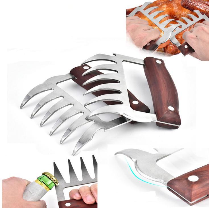 Tenedores de carne de Metal de acero inoxidable con mango de madera para barbacoa, trituradora de carne, pinzas, utensilios de cocina SN2215