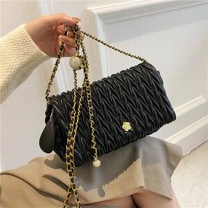 Brand Shoulder Bags for Women High Quality Chain Pleated Handbag Designer Shoulder Purses Luxury Clutch Bag Female Crossbody Bag