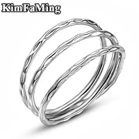 hot trendythree line plain silver casual rings for womenmen luxury high quality geometric fine jewelry partydaily r216