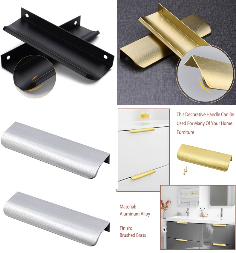 5in Cabinet Handles Gold Kitchen Cabinet Pulls Bathroom Drawer Pulls Modern Concealed Handle for Kitchen Cabinets Hardware modern concise design style brushed gold satin nickel cabinet handle drawers pulls