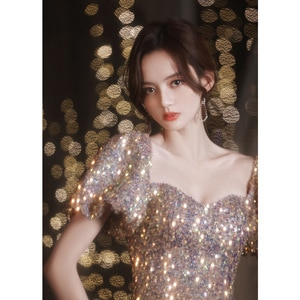 Elegant Shining Two-Wear Sequined Lonh Evening Dresses Bandage Banquet Prom Party Gown Host Dress For Walk Show Outdoor Activity